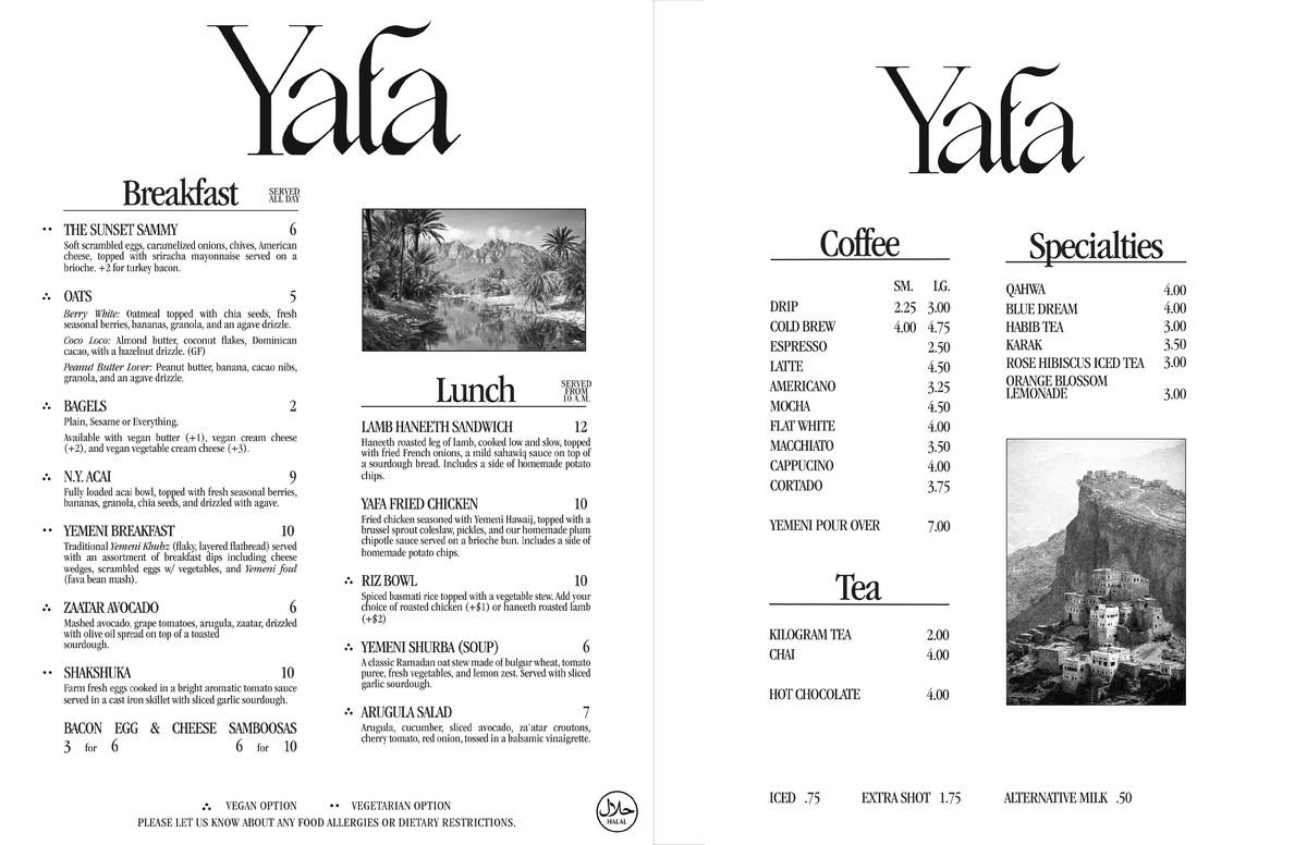 A menu from Yafa Cafe