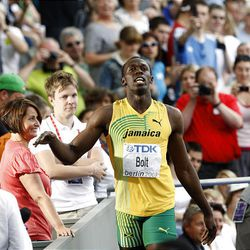 Jamaica's Usain Bolt reacts after a Men's 200m first round heat during the World Athletics Championships in Berlin on Tuesday.