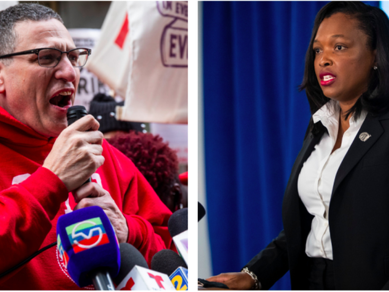 Chicago Teachers Union President Jesse Sharkey and Chicago Public Schools CEO Janice Jackson