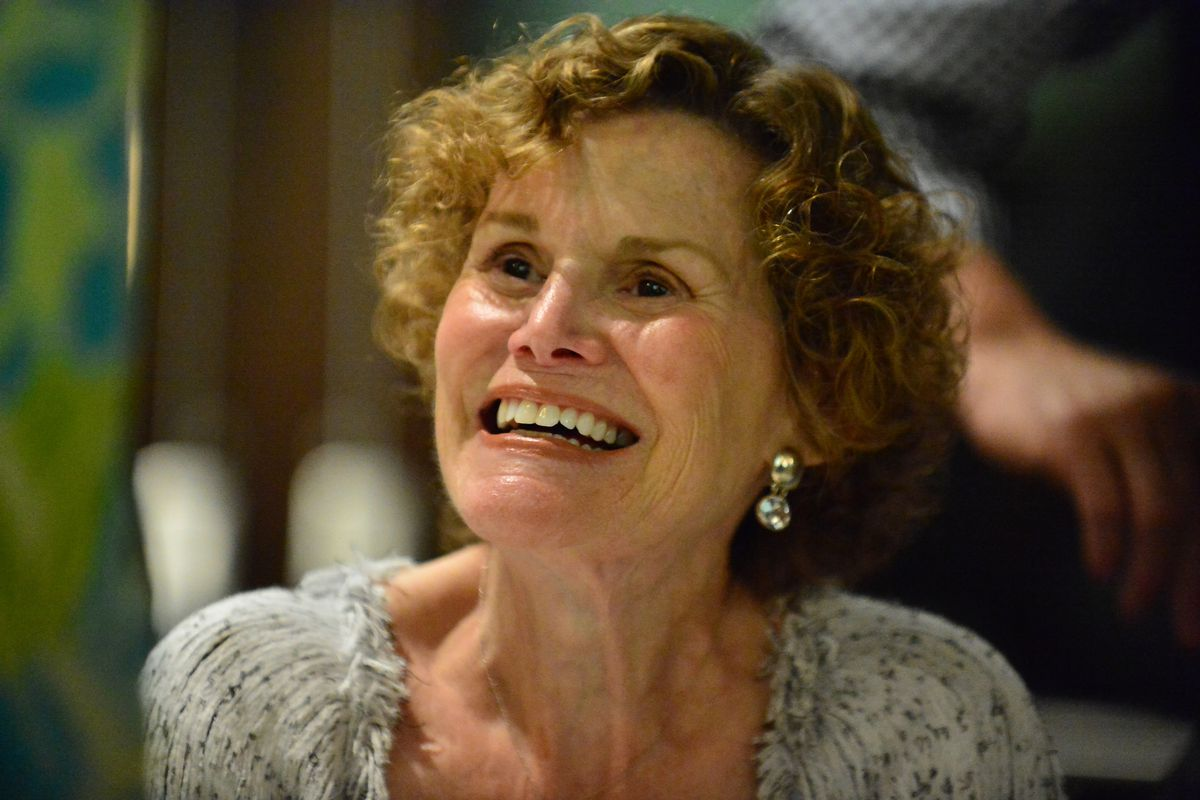 """Author Judy Blume in Conversation with WLRN's Alicia Zuckerman about her new book """"In the Unlikely Event"""" at Temple Judea on June 15, 2015, in Coral Gables, Florida."""