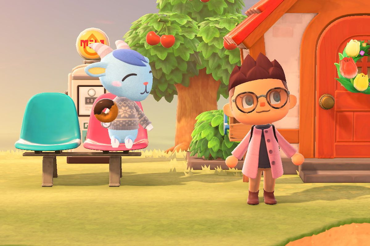 A villager and the player in Animal Crossing: New Horizons.
