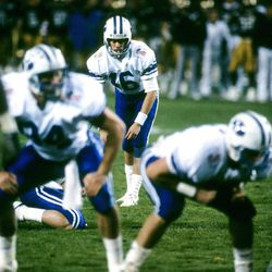 BYU kicker Jason Chaffetz, pictured at the Freedom Bowl- BYU vs Colorado, December 29, 1988.