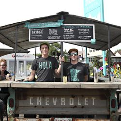 Hola Arepas tricked out a vintage Chevy as a bar with kegged cocktails