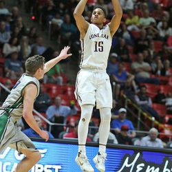 Lone Peak's Frank Jackson takes a shot as Lone Peak High School and Copper Hills High School play in the 5A state tournament quarterfinals Thursday, March 3, 2016, in Salt Lake City.