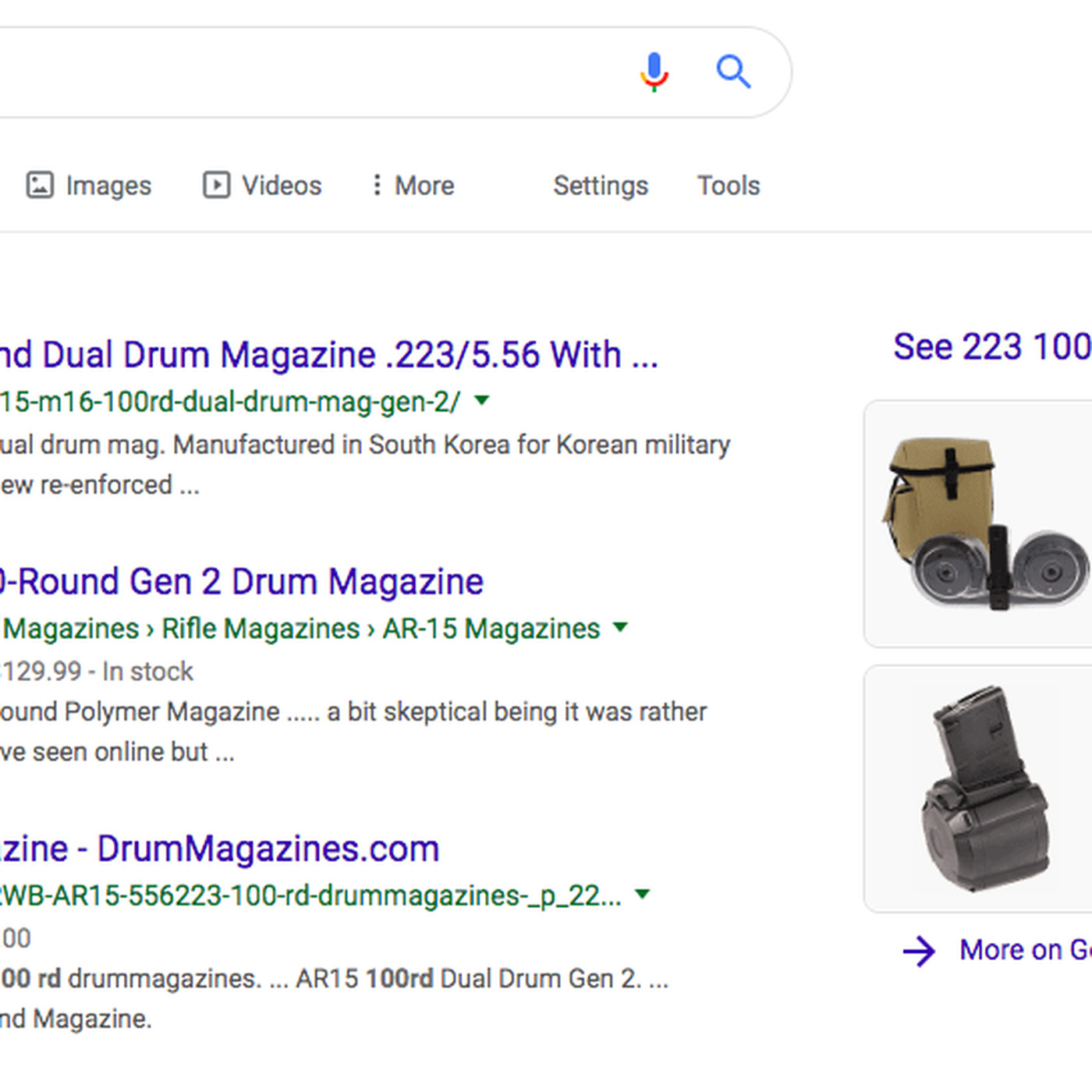 Google shows shopping results for 100-bullet magazines, despite its