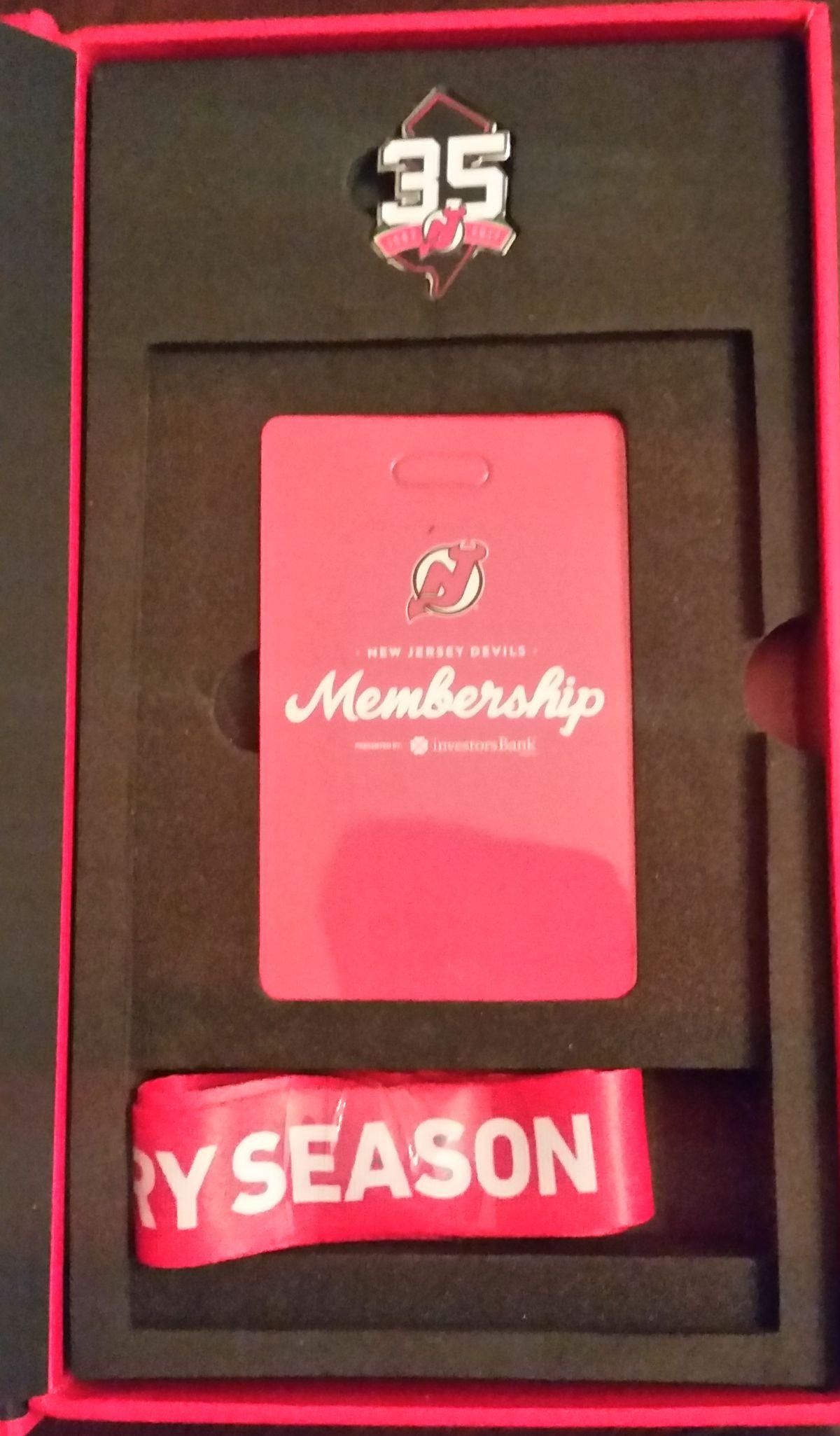 The 2017-18 Devils Membership card and lanyard
