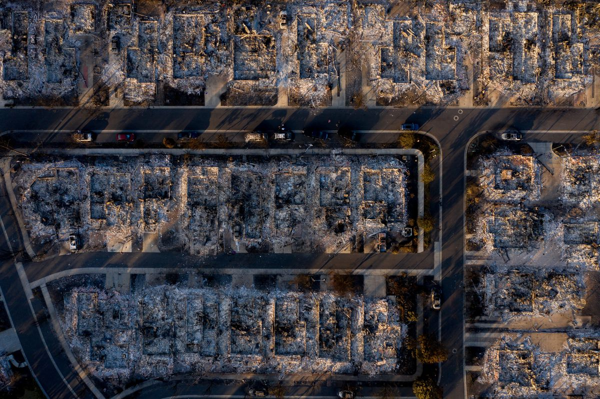 A neighborhood in Talent, Ore., that was destroyed by the Almeda Fire is pictured on Saturday, Sept. 19, 2020. Sisters Tammy Johnson and Misty Pantle and Pantle's three teenage children shared one of the homes that was burned.