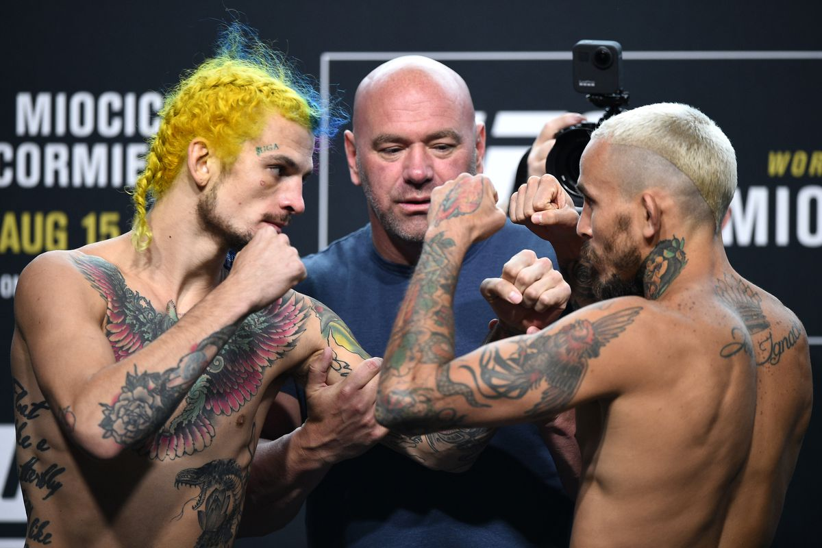 Opponents Sean O'Malley and Marlon Vera of Ecuador face off during the UFC 252 weigh-in at UFC APEX on August 14, 2020 in Las Vegas, Nevada.