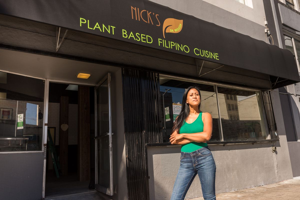 Nick's on Mission chef Reina Montenegro in front of her SoMa restaurant