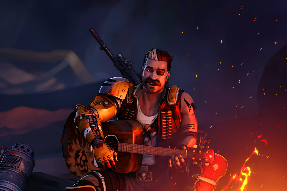 Fuse from Apex Legends sitting by a campfire