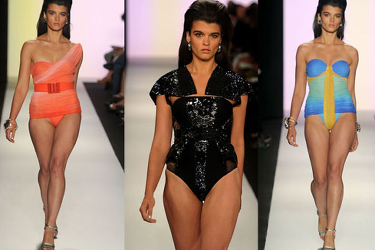 """The debate rages on?if a swimsuit with shoulder pads really does anyone any kind of favors. Image via <a href=""""http://www.huffingtonpost.com/2010/09/15/gottex-spring-2011-crystal-renn_n_718498.html"""">Huffington Post</a>"""