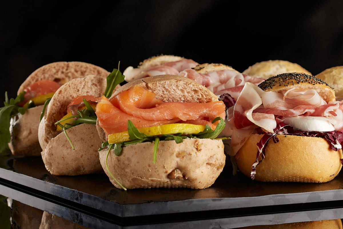 Smoked salmon and parma ham sandwiches at Vyta, an Italian train station restaurant, opening in Covent Garden, London
