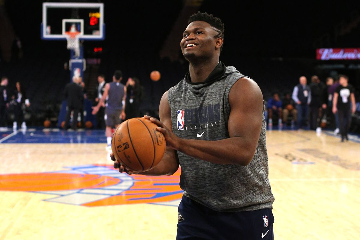 New Orleans Pelicans small forward Zion Williamson works out before a game against the New York Knicks at Madison Square Garden.