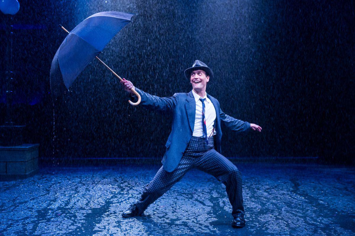 "Danny Gardner stars as Don Lockwood in the Marriott Theatre production of ""Singin' in the Rain.""   Justin Barbin"