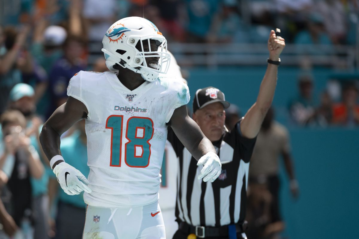 the best attitude 483a0 66a4e Miami Dolphins' WR Preston Williams scores first career TD ...
