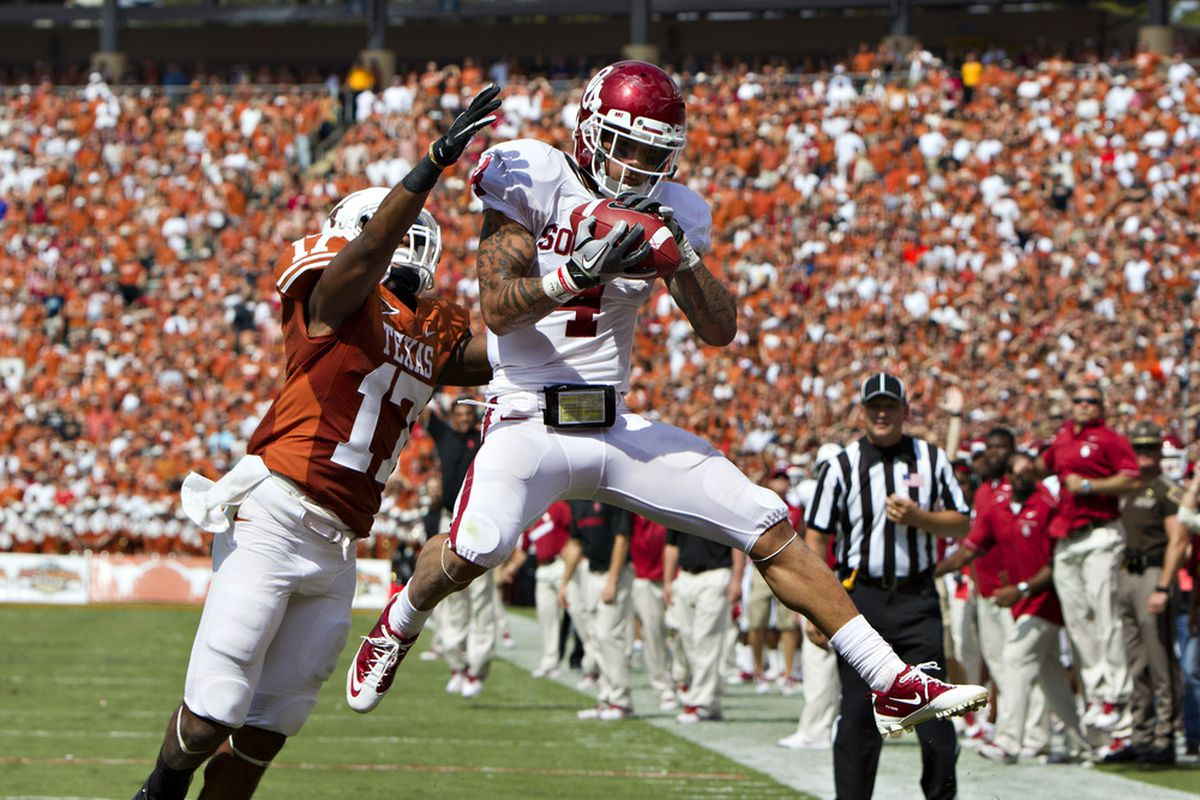 DALLAS, TX - OCTOBER 8:   Is Oklahoma 5.5 points better than Texas on June 11th?  (Photo by Wesley Hitt/Getty Images)