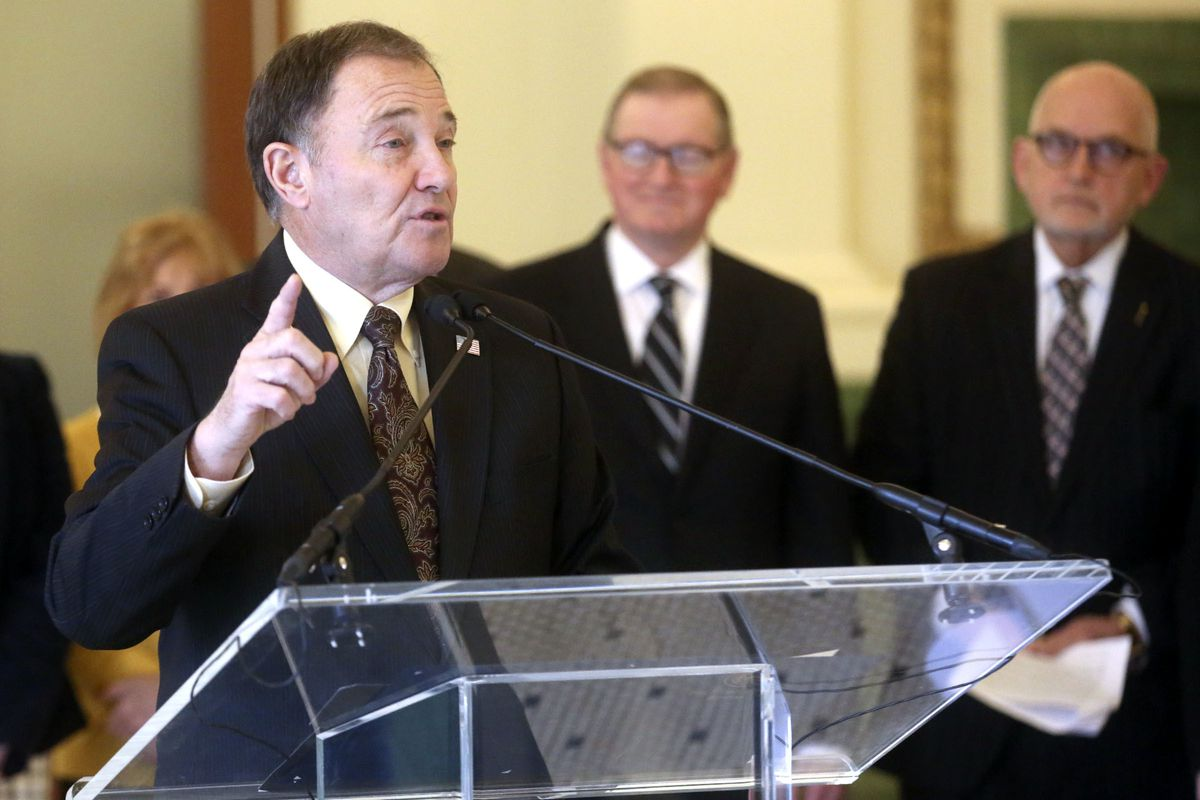"""FILE - Gov. Gary Herbert speaks during a press conference at the Union Pacific Depot at The Gateway in Salt Lake City on Friday, Feb. 1, 2019. Utah Gov. Gary Herbert said Thursday it is """"time to give back to the people of Utah"""" by shaving the state sales"""