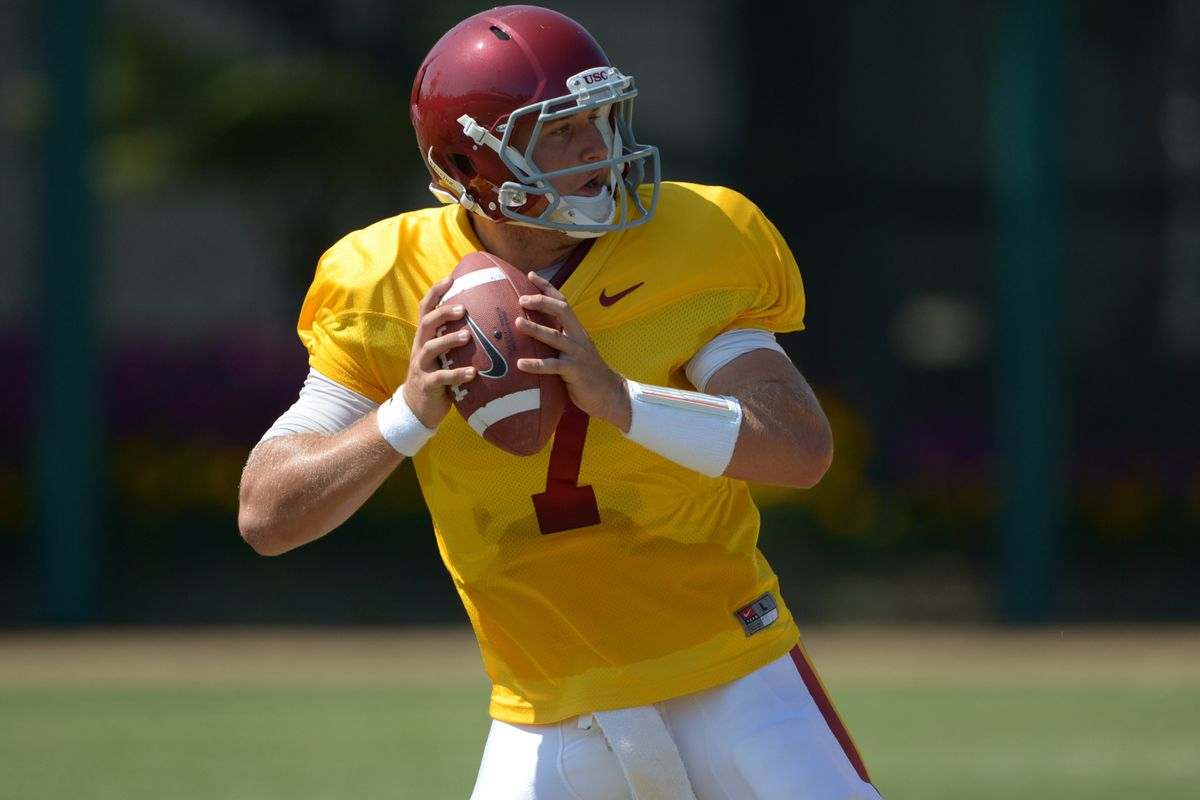Aug 21, 2012; Los Angeles, CA, USA; Southern California Trojans quarterback Matt Barkley (7) throws a pass at practice at Dedeaux Field. Mandatory Credit: Kirby Lee/Image of Sport-US PRESSWIRE