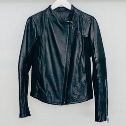 "Gat Rimon 'Talor' leather combo motorcycle jacket, <a href=""http://www.shopcondor.com/gat-rimon-talor-leather-combo-motorcyle-jacket.html"">$798</a>"