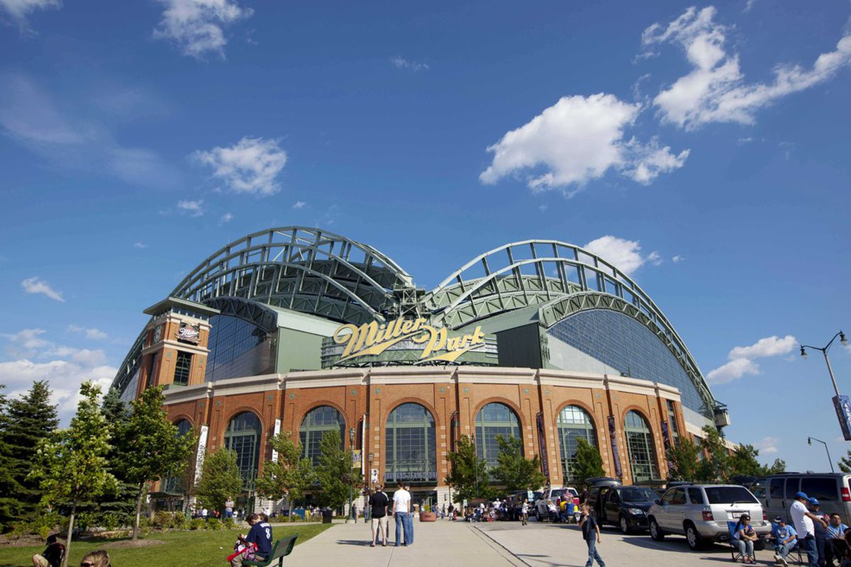 June 2, 2012: Milwaukee, WI, USA;  An outside view of Miller Park prior to the game between the Pittsburgh Pirates and Milwaukee Brewers.  Mandatory Credit: Jeff Hanisch-US PRESSWIRE