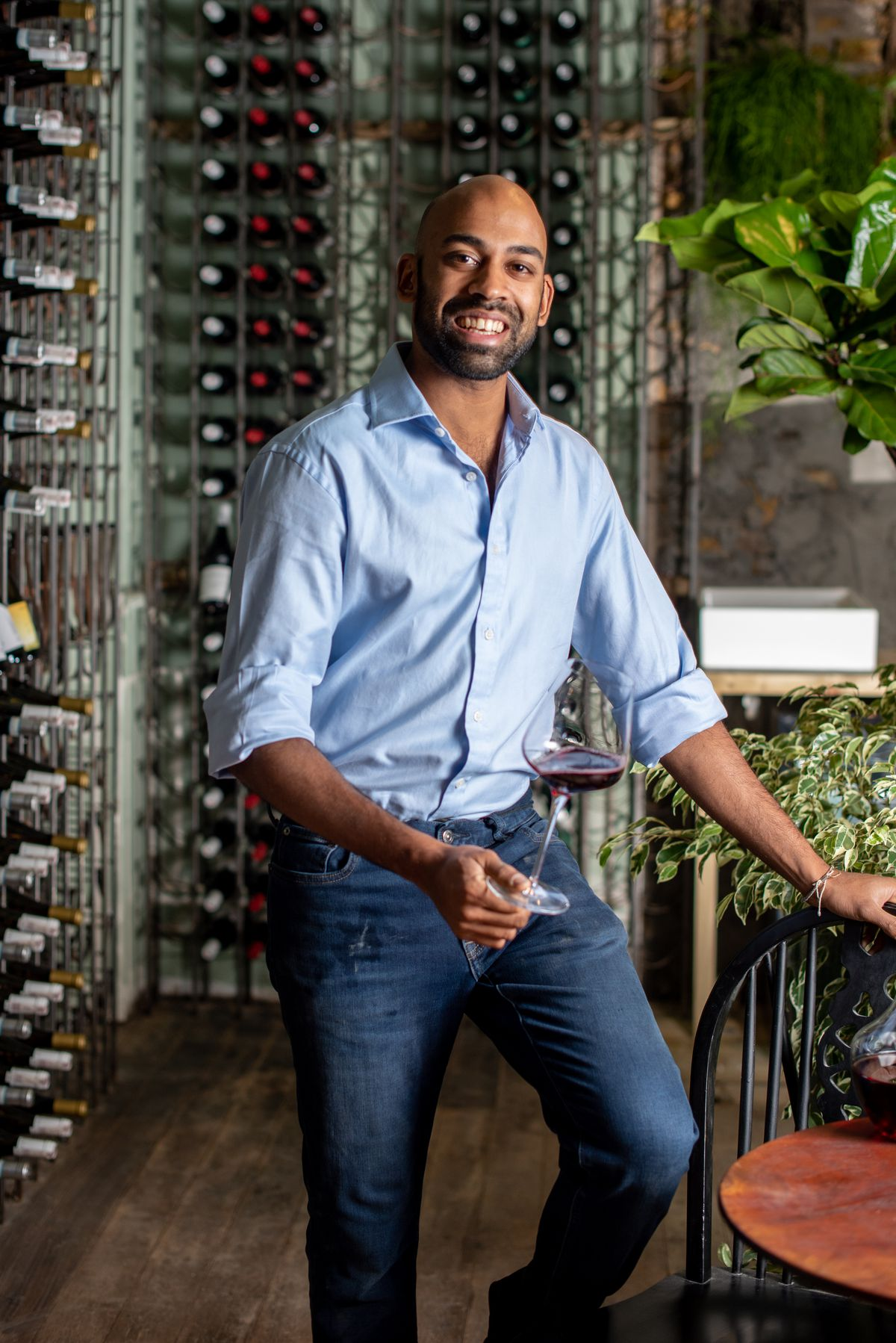 Owner Sunny Hodge at Diogenes the Dog, a new wine bar for London in Elephant and Castle