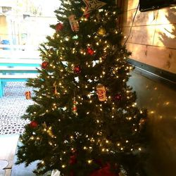 Tree at D&T Drive Inn. Beer cans for ornaments.
