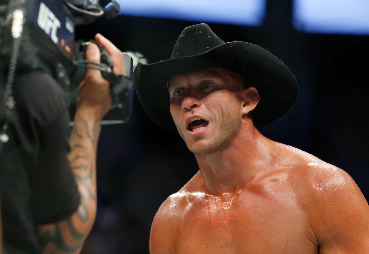 Donald Cerrone reacting to a camera after a TKO