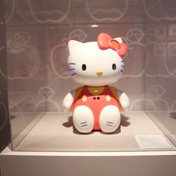 You'll also encounter a talking Hello Kitty robot. She's fully equipped with voice recognition and a camera in her eyes so she can recognize and call her owner by name. Where can we get one of these?