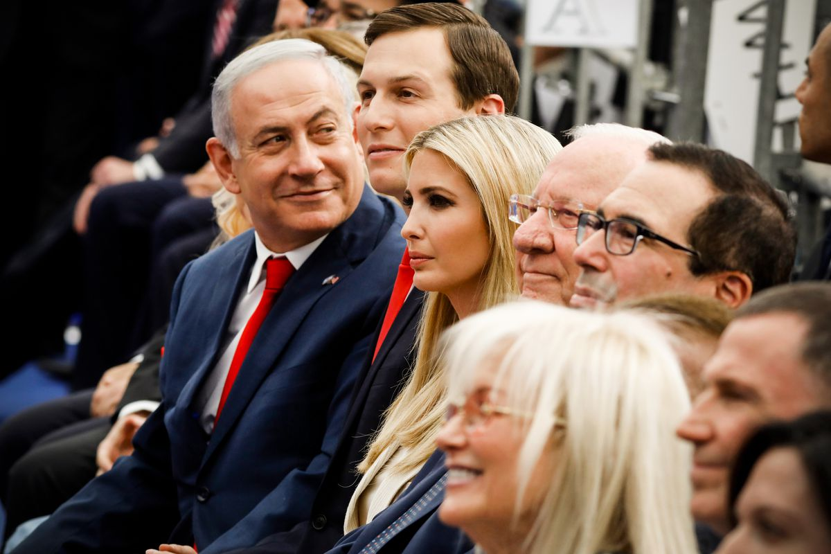 Israel's Prime Minister Benjamin Netanyahu, Senior White House Advisor Jared Kushner, Ivanka Trump, US Treasury Secretary Steve Mnuchin and Israel's President Reuven Rivlin attend the opening of the US embassy in Jerusalem on May 14, 2018.