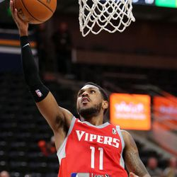 Rio Grande Valley Vipers' Monte Morris shoots during an NBA G league basketball game against the Salt Lake City Stars at the Vivint Smart Home Arena in Salt Lake City on Monday, Nov. 27, 2017. Morris' former Iowa State teammate Naz Mitrou-Long plays for the Salt Lake City Stars.