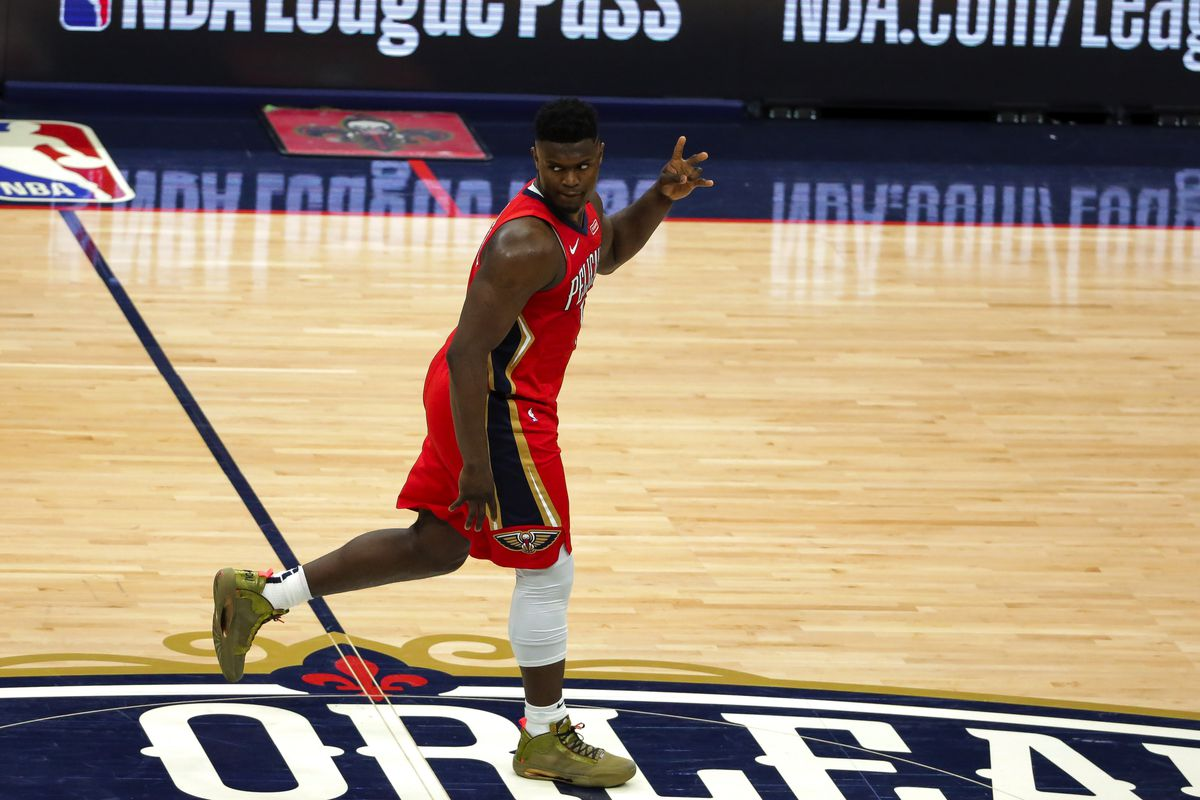 New Orleans Pelicans forward Zion Williamson reacts after a three point basket against the San Antonio Spurs during the fourth quarter at the Smoothie King Center.