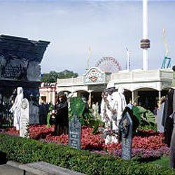 Halloween decorations line the midway at Cedar Point amusement park near Sandusky, Ohio.