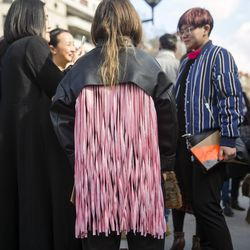 Pink leather fringe outside of the Céline show in Paris.