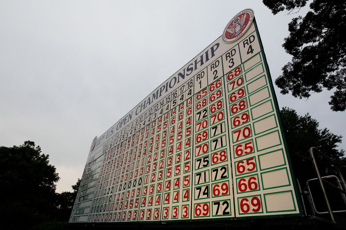 BETHESDA, MD - JUNE 18:  A leaderboard is seen during the third round of the 111th U.S. Open at Congressional Country Club on June 18, 2011 in Bethesda, Maryland.  (Photo by Rob Carr/Getty Images)
