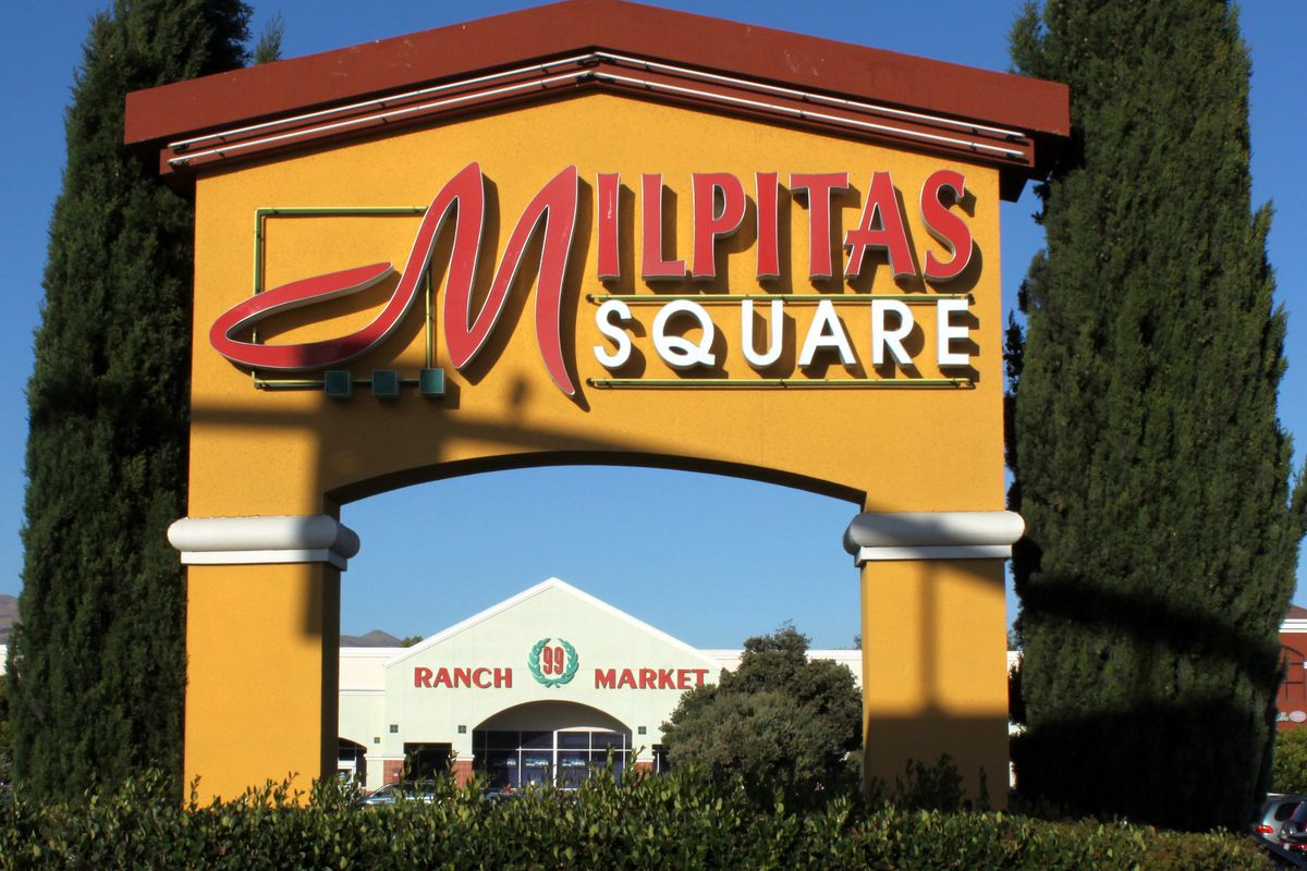 The sign for the Milpitas Square mall