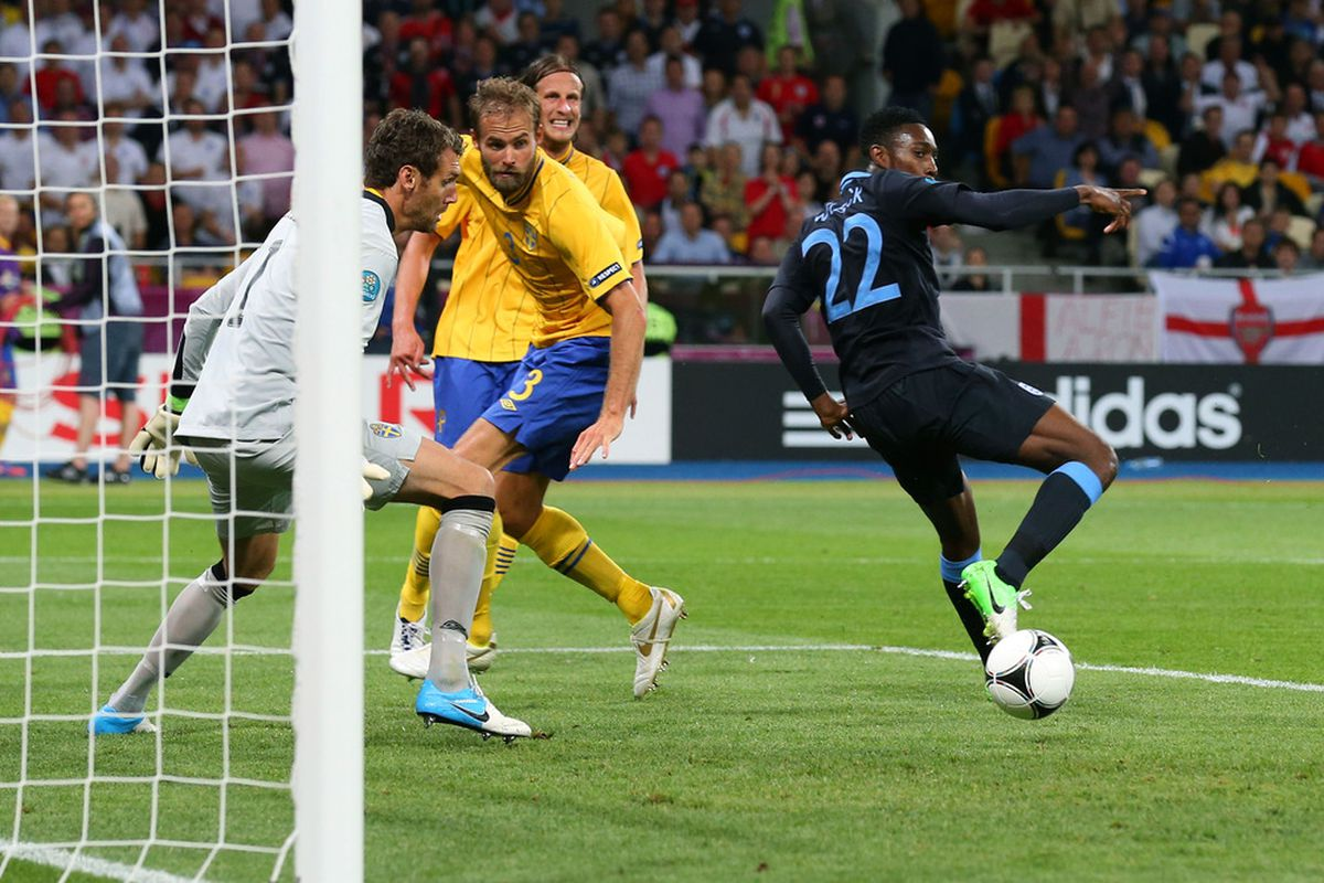 KIEV, UKRAINE - JUNE 15:  Danny Welbeck of England celebrates scores their third goal  during the UEFA EURO 2012 group D match between Sweden and England at The Olympic Stadium on June 15, 2012 in Kiev, Ukraine.  (Photo by Alex Livesey/Getty Images)