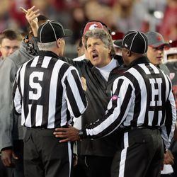 Mike Leach was not pleased with a late personal foul penalty.