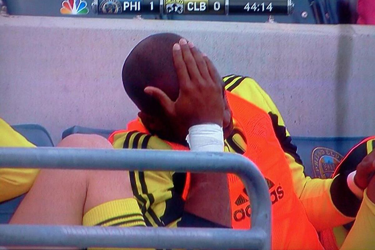 Emilio Renteria holds his head shortly after the Union took a 1-0 lead against the Crew this past weekend.