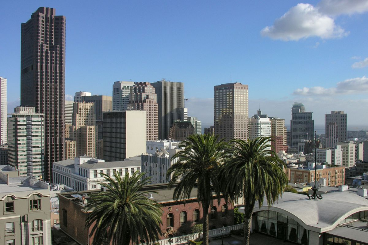 An aerial view of SF's financial district, seen from Union Square.