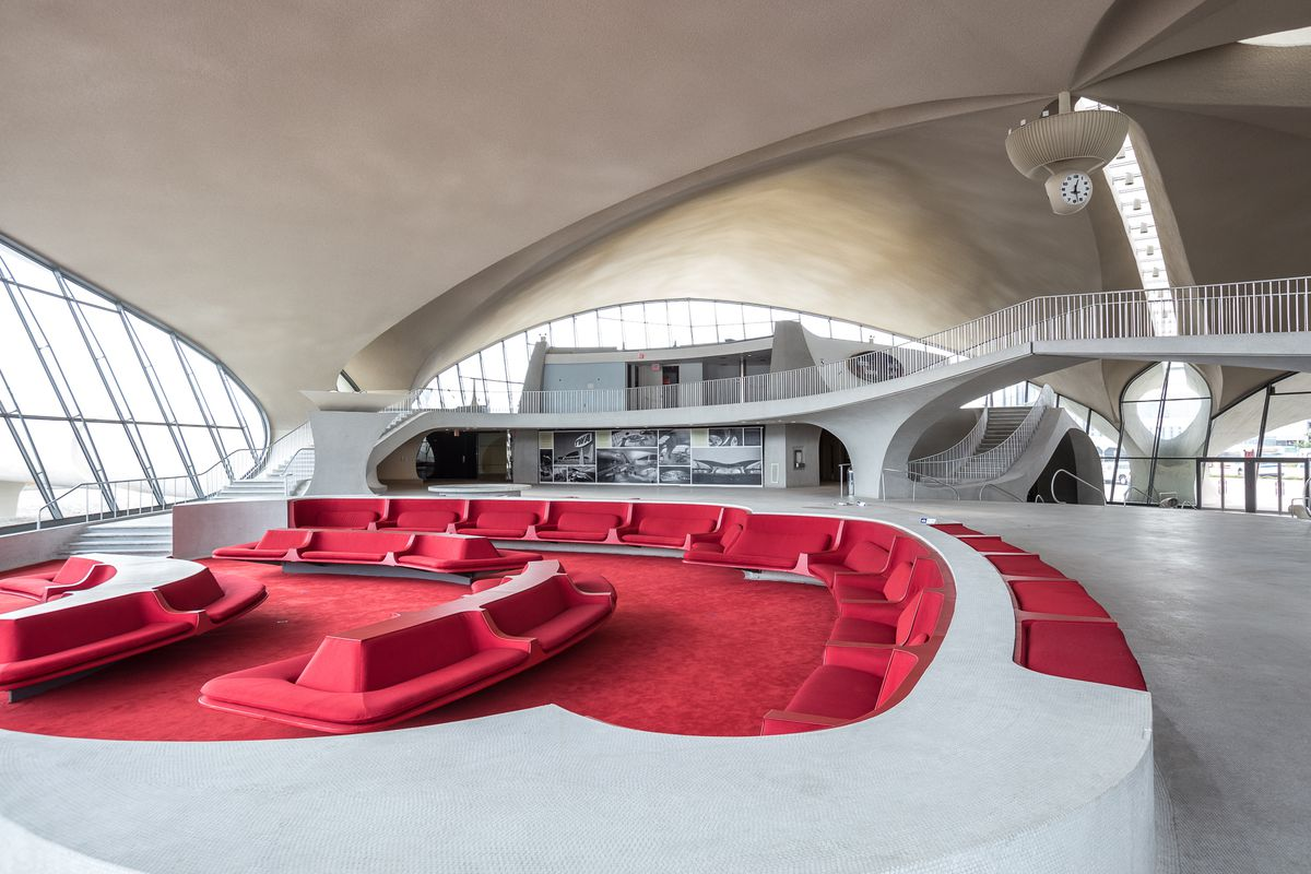 The swopping, sculptural interior of the TWA Flight Center at New York's John F. Kennedy International Airport.