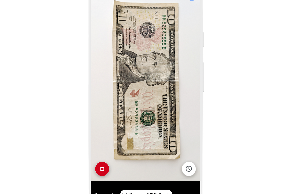 Lookout app shown on a smartphone in currency mode, displaying the front of an American ten dollar bill