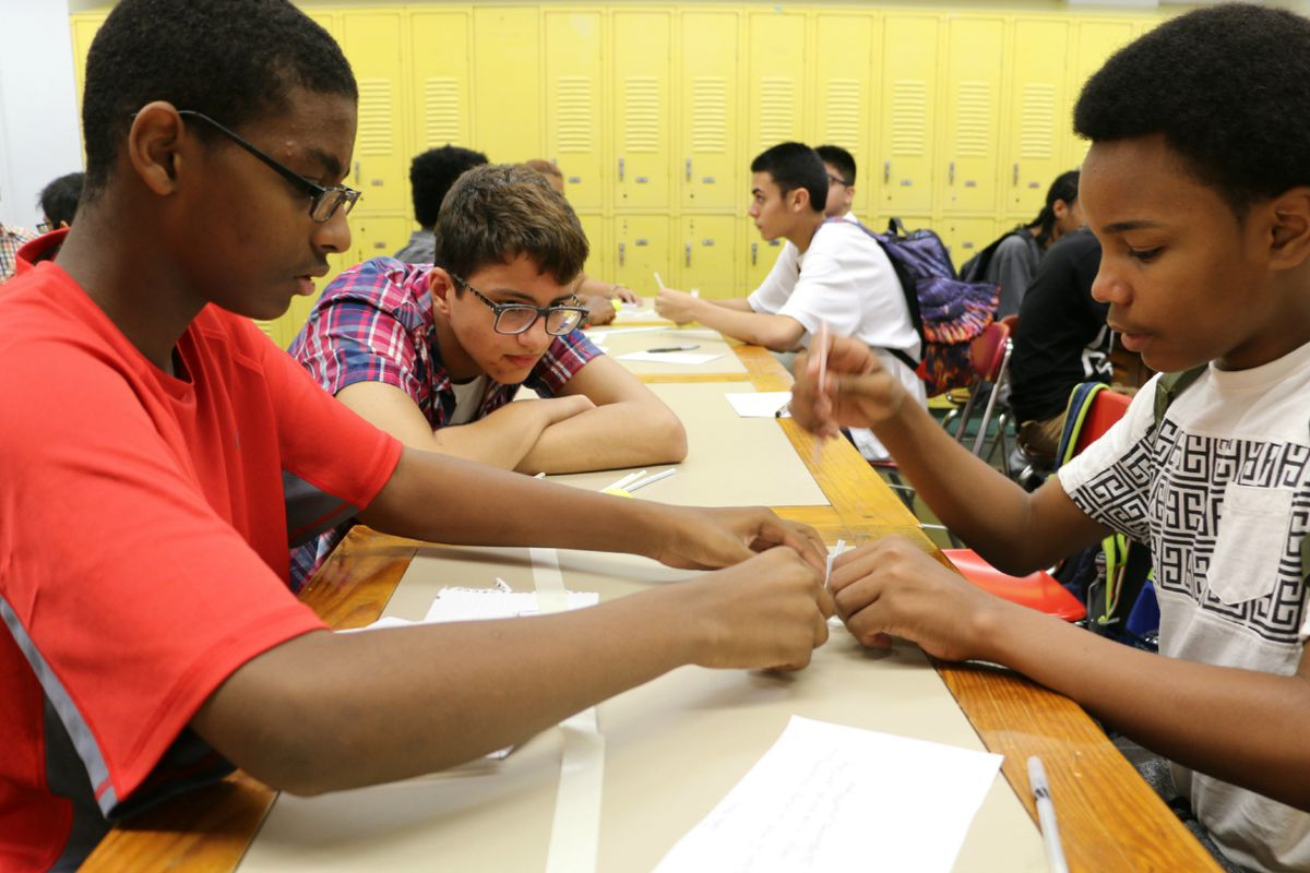 Students at Urban Assembly Maker Academy tried to design a straw basket that could catch a falling golf ball on the first day of school in 2015.