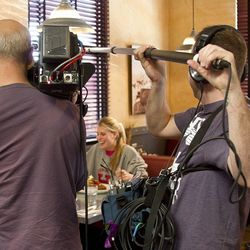 The Unique Eats film crew interviewed guests at Hash House A Go Go as they dined.