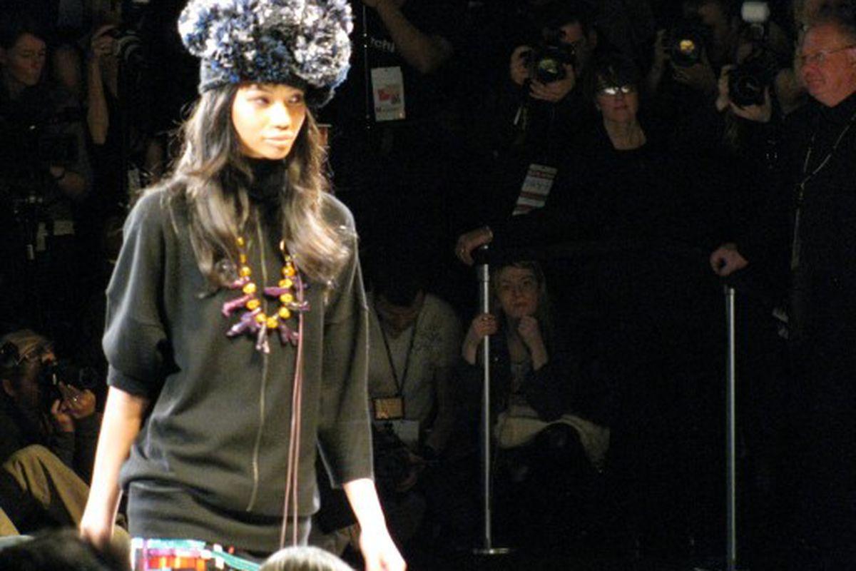 Diane von Furstenberg's models all wore pom-pom hats