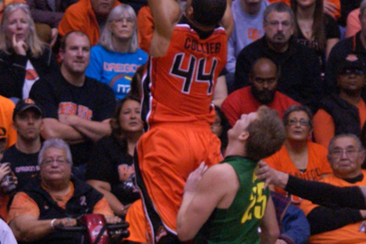 Devon Collier has become the most vital Beaver. It may take a lot of dramatic dunks the likes of which helped, but weren't enough, in Oregon St.'s last 2 losses to Oregon and Arizona St., to outscore Arizona.