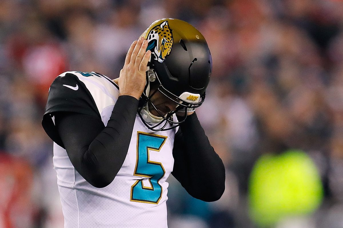 Blake Bortles hangs his head during the AFC championship game