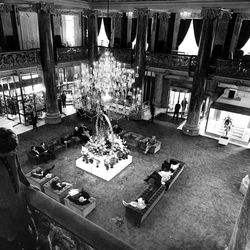Marble pillars and ornate chandeliers are a Westin Hotel Utah trademark. April 15, 1986.