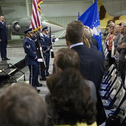 The color guard posts the colors during a change of command ceremony at Hill Aerospace Museum, Monday, Sept. 8, 2014. Brig. Gen. Carl A. Buhler assumed command of the Ogden Air Logistics Complex from Maj. Gen. H. Brent Baker Sr.