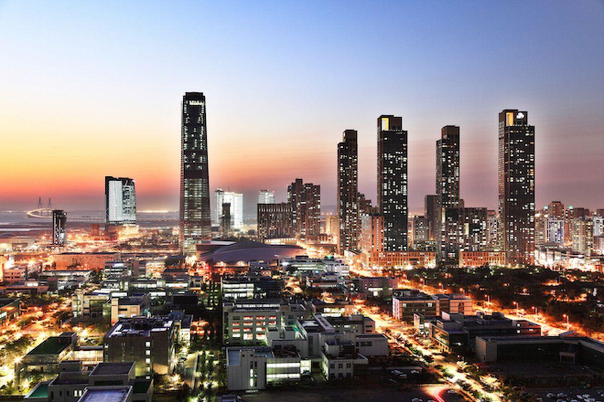 Songdo's skyline at night.