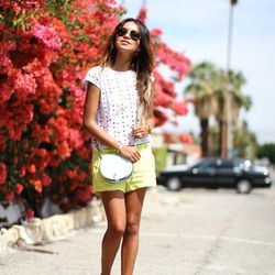 "Julie of <a href=""http://www.sincerelyjules.com/"">Sincerely, Jules</a> is wearing a Kova & T crop top, <a href=""http://shop.guess.com/en/Catalog/View/Women/Shorts/Ilana%20Shorts/W32D33W3QL0"">Guess</a> shorts, Loeffler Randall sandals, a Rebecca Minkoff ba"